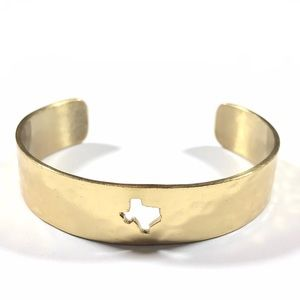 Rustic Cuff Texas State Hammered Gold Bracelet